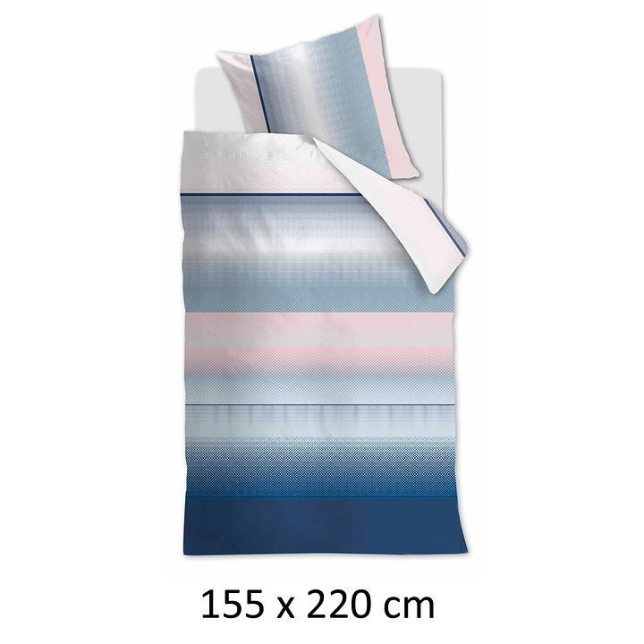 Mako Satin Bettwäsche Senn Blau 155 X 220 Cm Promondo
