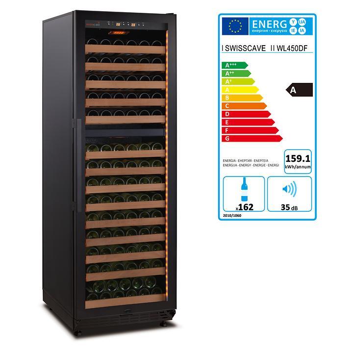 Zweizonen-Weinkühlschrank WLB 450DF BLACK EDITION mit Ambienteausstattung