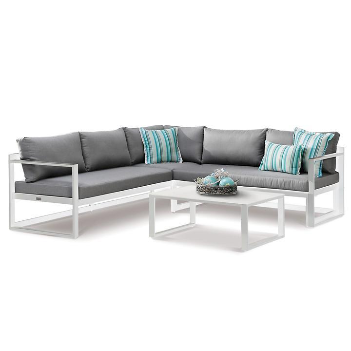 Lounge-Gruppe 'Rhodos' weiß/grau