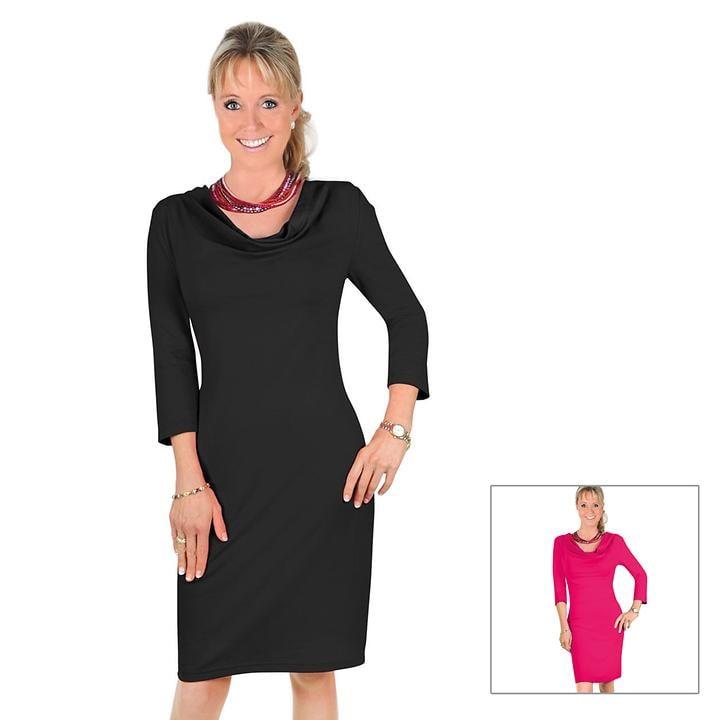Figurbetonendes Jerseykleid 3/4 Arm und Wasserfallkragen