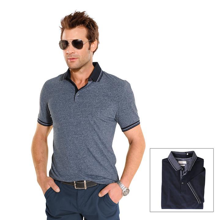 Poloshirt mit Ripp-Strick Poloshirt mit Ripp-Strick