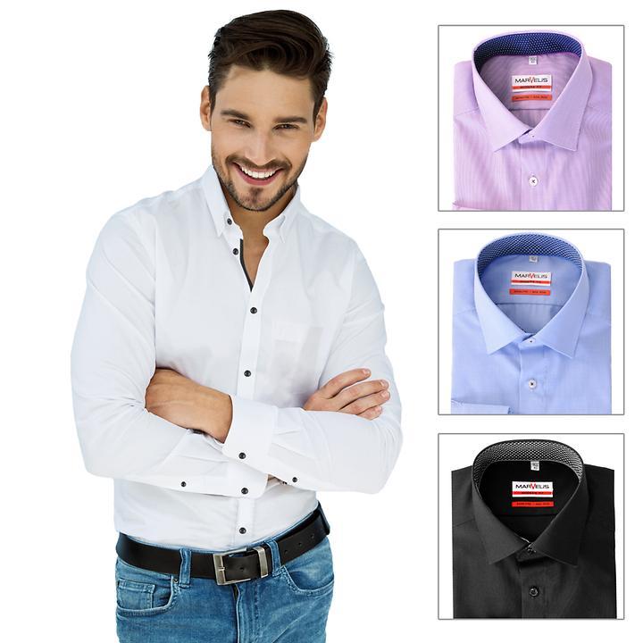 Bügelfreies Hemd aus 100% feinster Baumwolle