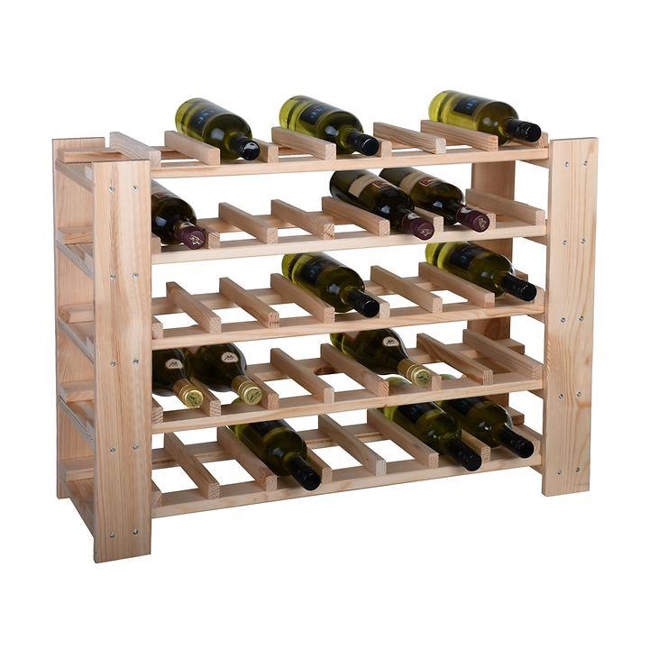 Weinregal FACILE natur, niedrig für 35 Flaschen