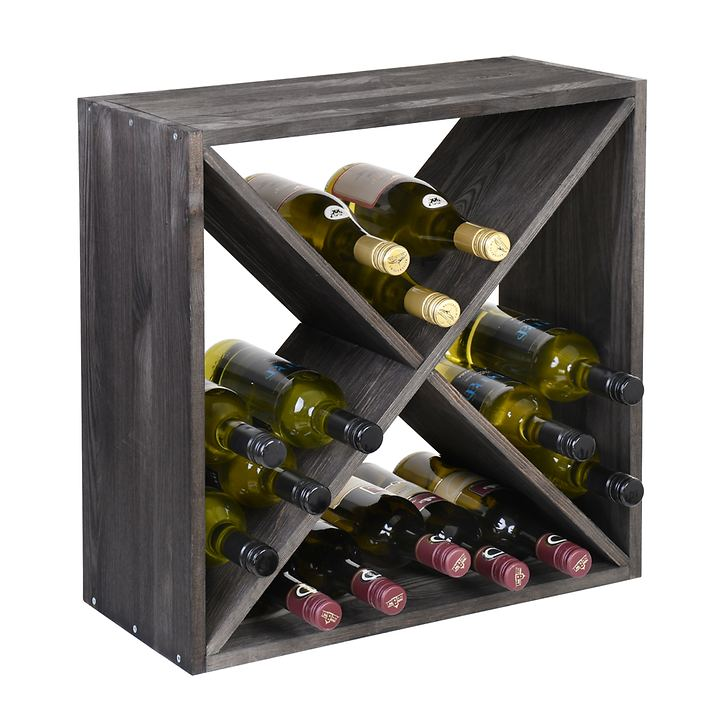 Weinregal 52 cm, Modul X-Cube,  Holz in tobacco gebeizt