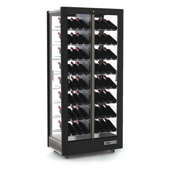 Weinkühlschrank TECA VINO, schräge Lagerung, schwarz
