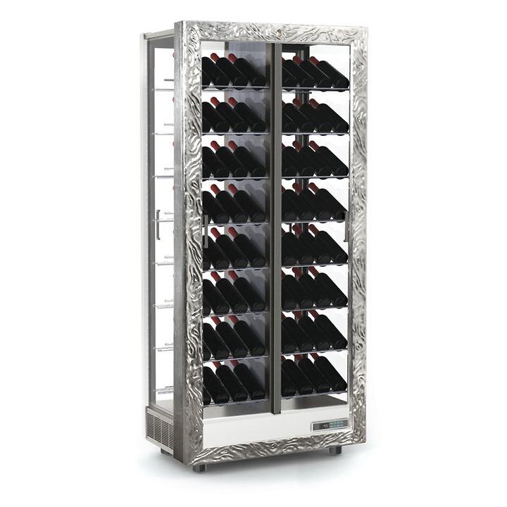 Weinkühlschrank TECA VINO, schräge Lagerung, silber