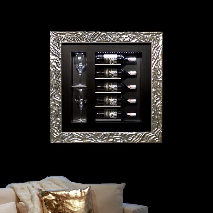 Wand-Weinregal Quadro Vino für 5 Fl., silber/schwarz