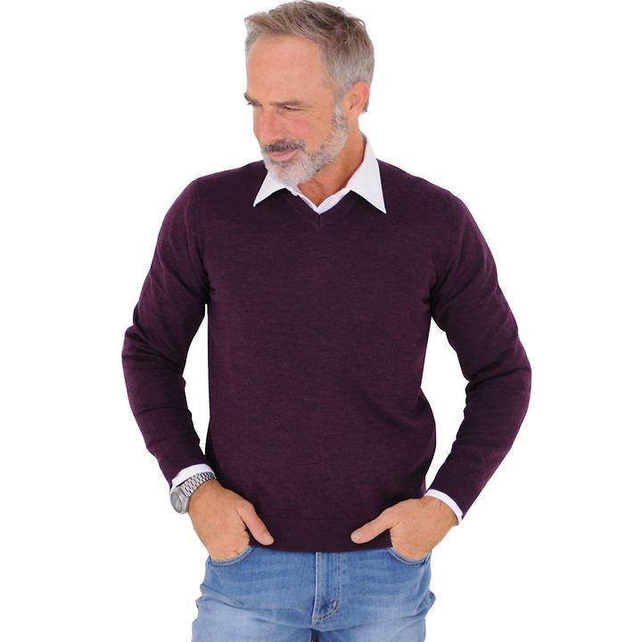 V-Ausschnitt Pullover Toni beere Gr. 3XL