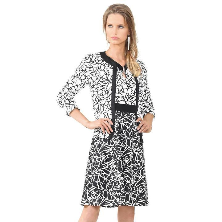 Ausgestelltes Kleid in Grafik-Design mit halben Arm