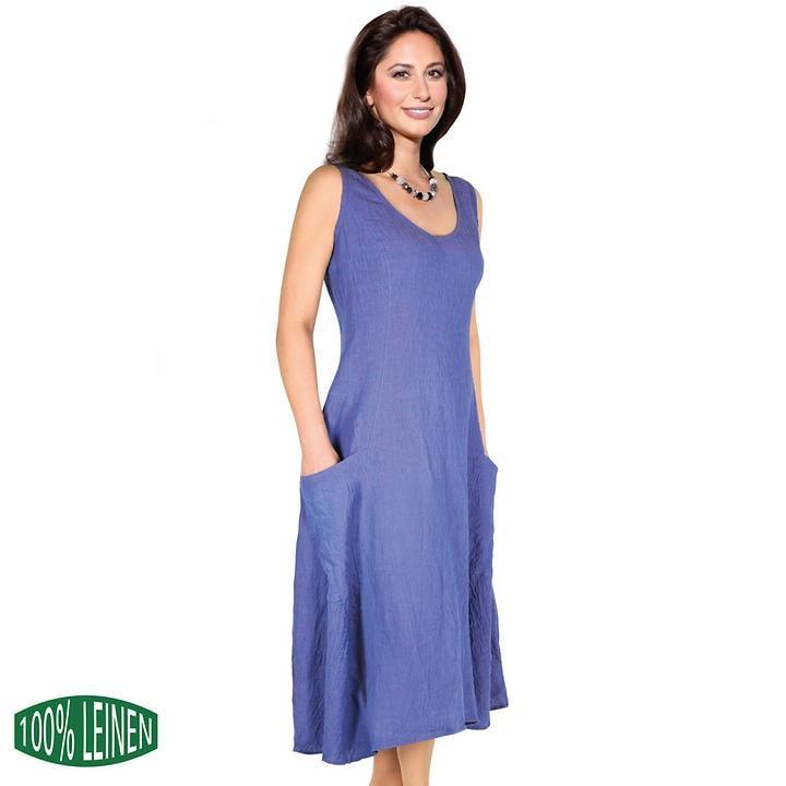 Luftiges leicht tailliertes Leinenkleid mit Taschen