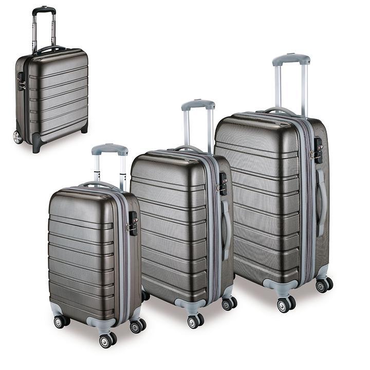 Trolleyset Travel 4 Rollen carbon silber