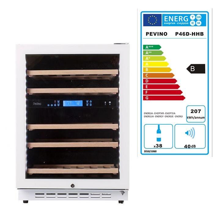 Zweizonen-Weinkühlschrank, weißer Rahmen 38 Fl.