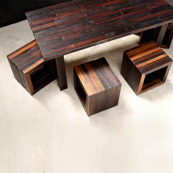 Tisch BOTTE DA VINO, weinrot mit Holzgestell