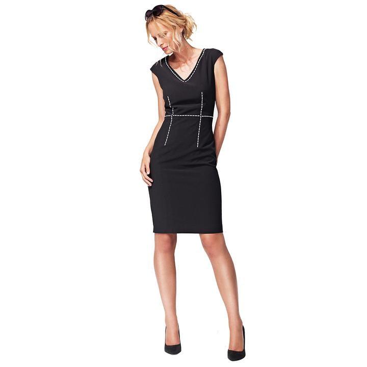 Elastisches Kleid mit weißen Kontraststichen V-Ausschnitt