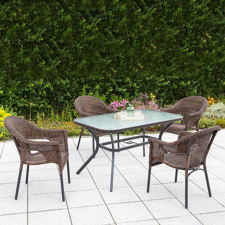 Set 2 Ravenna eckiger Tisch & 4 Stühle, braun