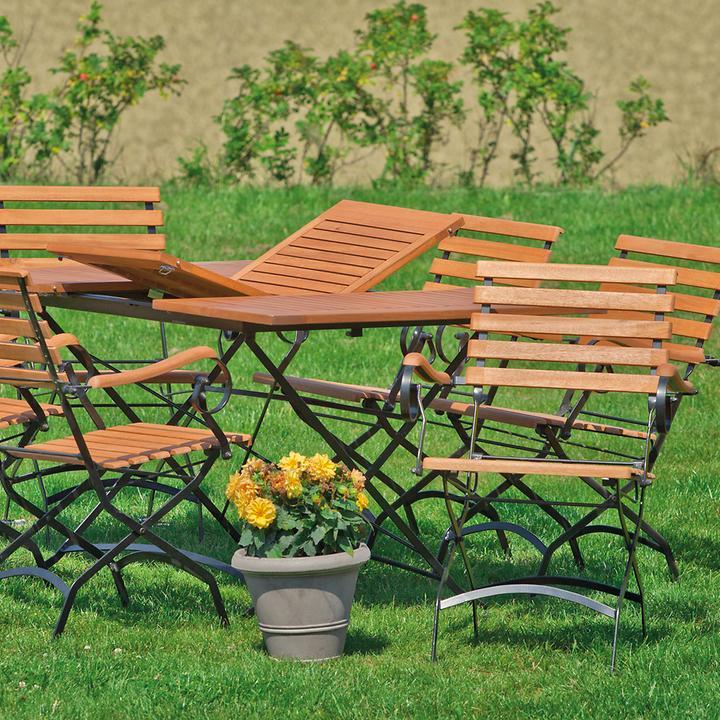 Klappgartenmöbel aus Eukalytus holz & lackiertem Flachstahl