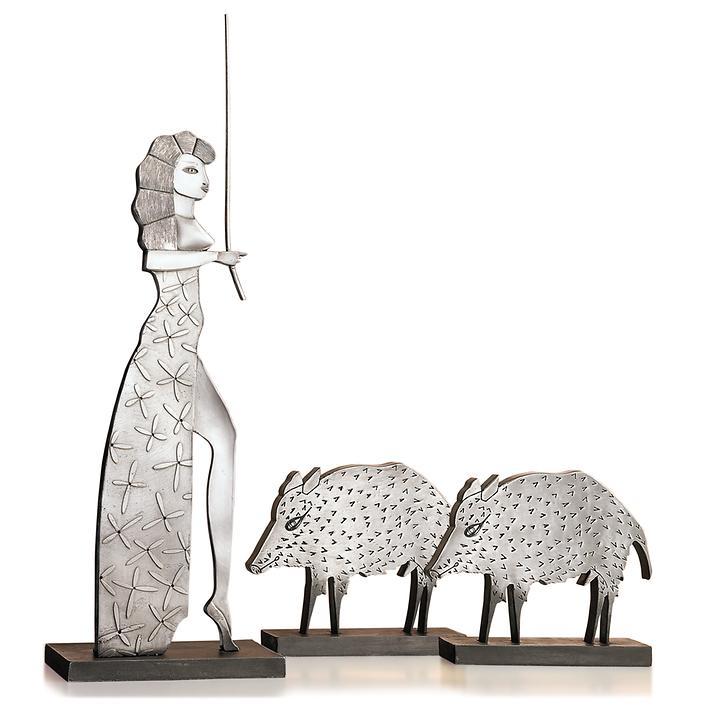 Metallguss-Skulpturen Circe & Wildschwein