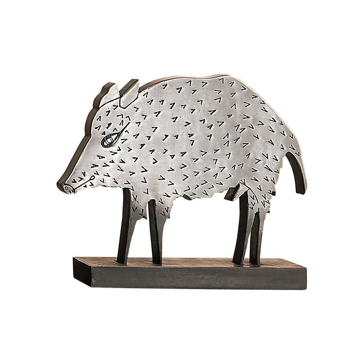 Metallguss-Skulptur Wildschwein