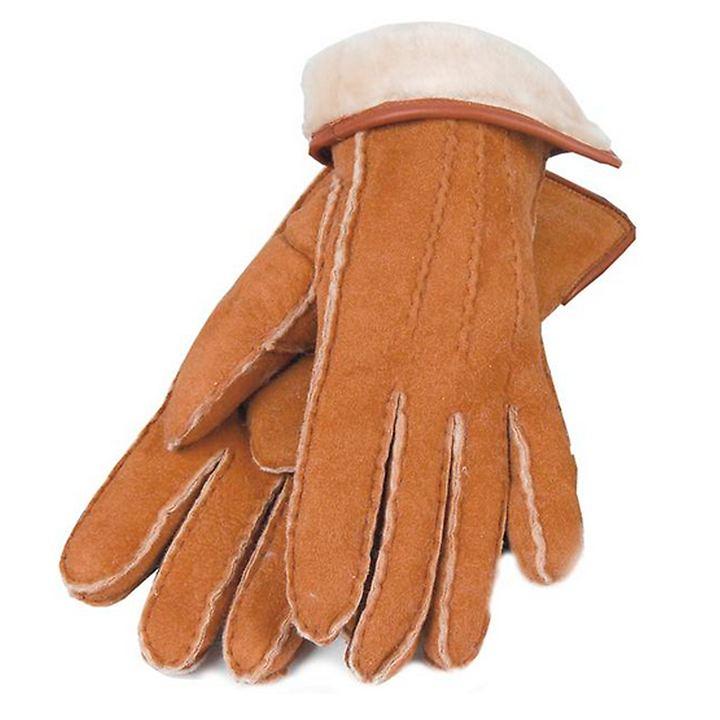 Lammfell-Handschuhe Damen/ Herren cognac Gr. 8