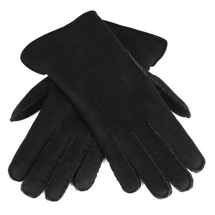 Lammfell-Handschuhe Damen/ Herren schwarz Gr. 10