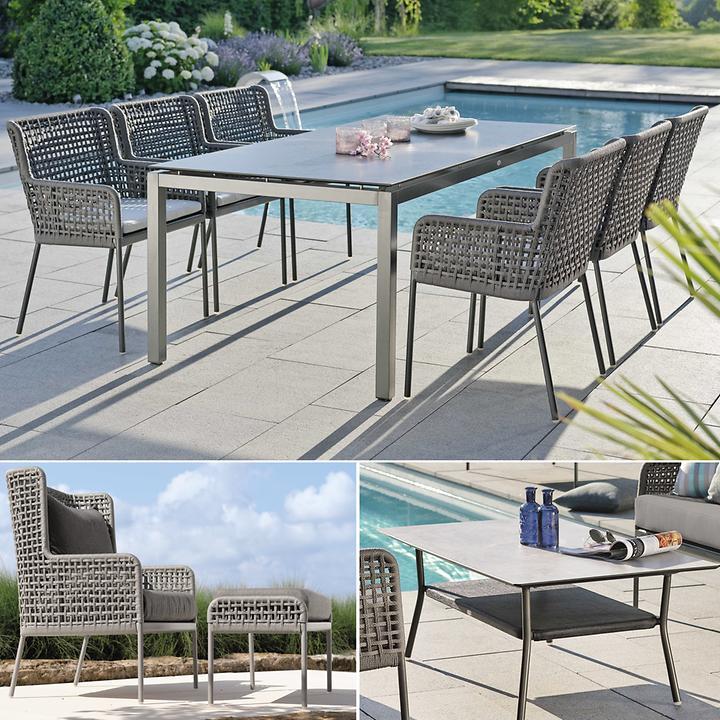 Geflecht-Dining-Gartenmöbel mit passenden Tischen