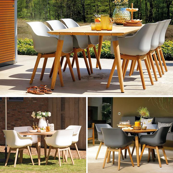 Tisch & Gartenstühle Sophie mit Teakholzbeinen & Tisch Yasmani