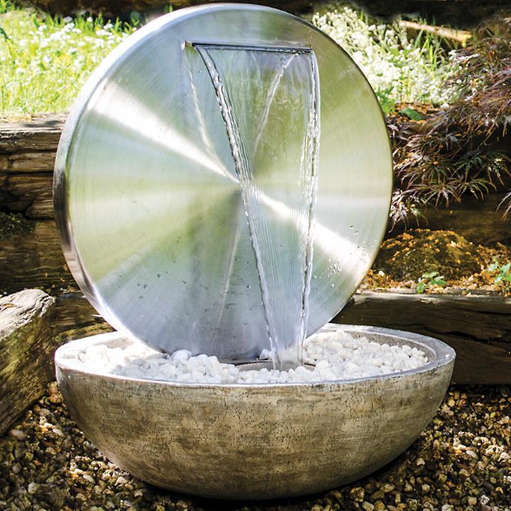 "Gartenbrunnen ""Bocca"" aus Edelstahl, silber"