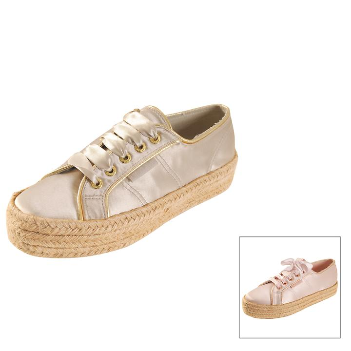 Plateau-Sneaker Satin