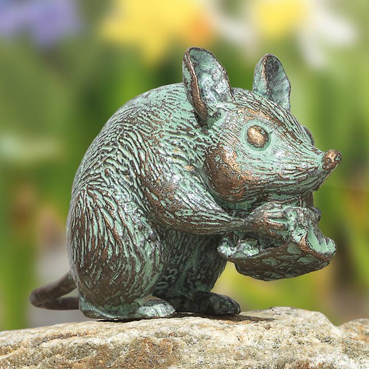 Bronze-Skulptur Maus mit Käse