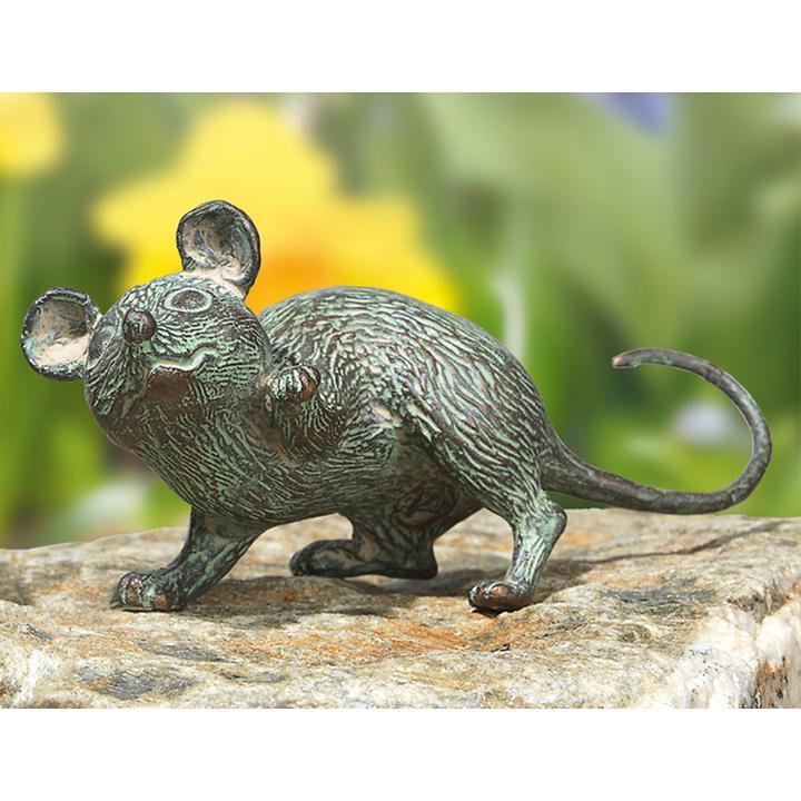 Bronze-Skulptur Maus mit erhobener Pfote