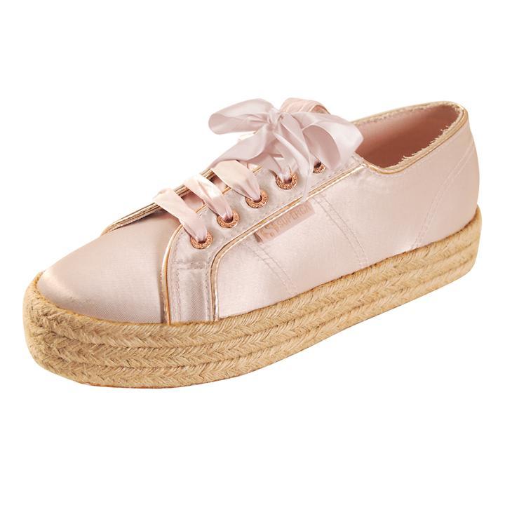 Plateau-Sneaker Satin rosé, Gr. 38