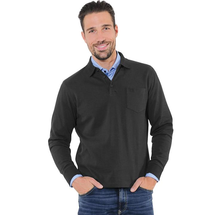 Langarm-Poloshirt bugatti, schwarz