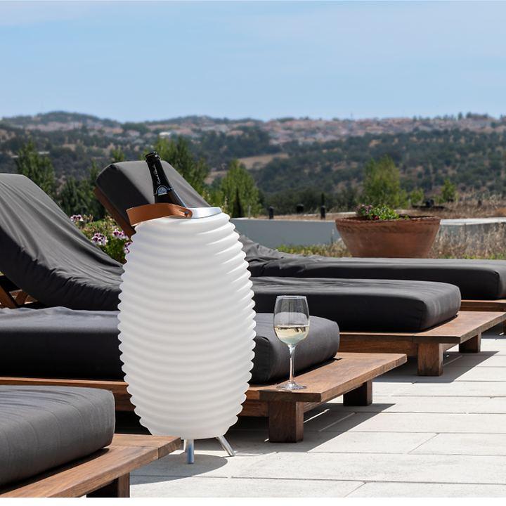 LED-Wein/ & Getränkekühler mit Bluetooth-Lautsprecher Synergy akkubetrieben