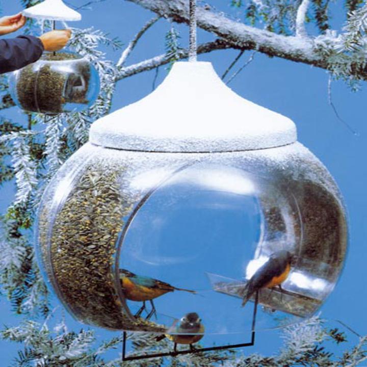 Vogelfutterglocke aus Kunststoff, transparent/weiß