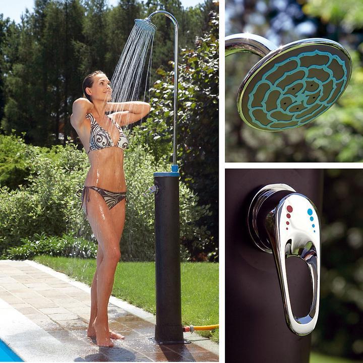 *NEU*: Gartendusche aus Kunststoff, solarbetrieben, schwarz