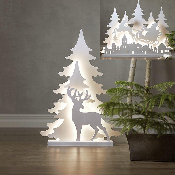 LED-Deko-Silhouette Rentier und Santa