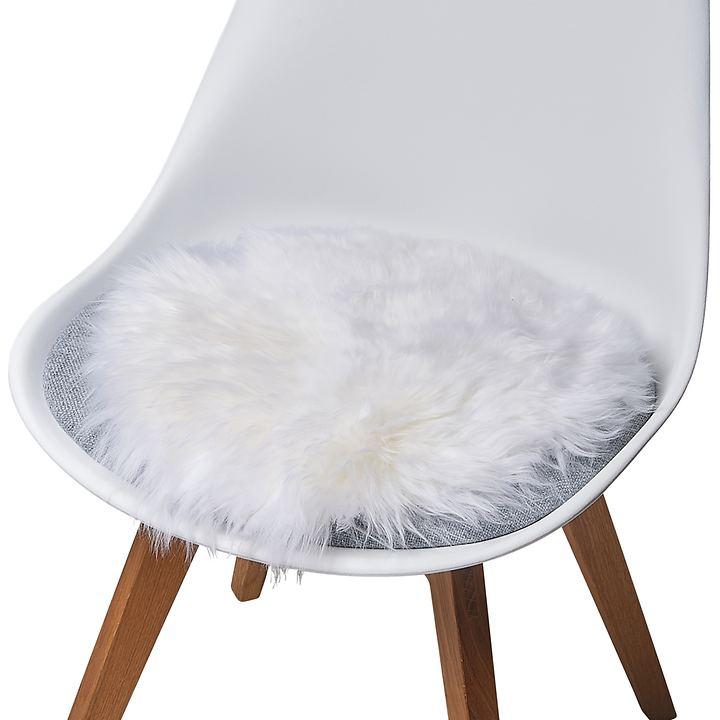 Lammfell-Sitzauflage weiß