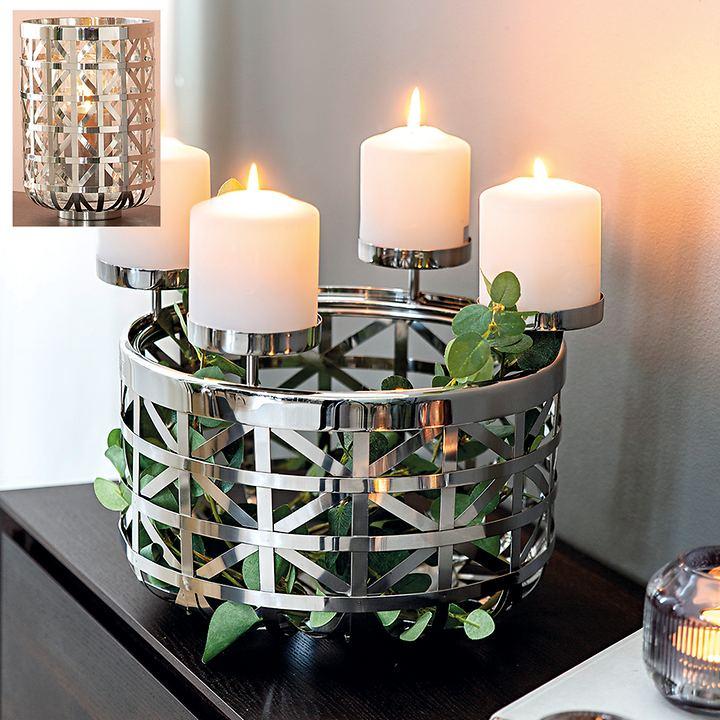 Edelstahl-Windlicht /-Korb Joris mit abnehmbaren Kerzen