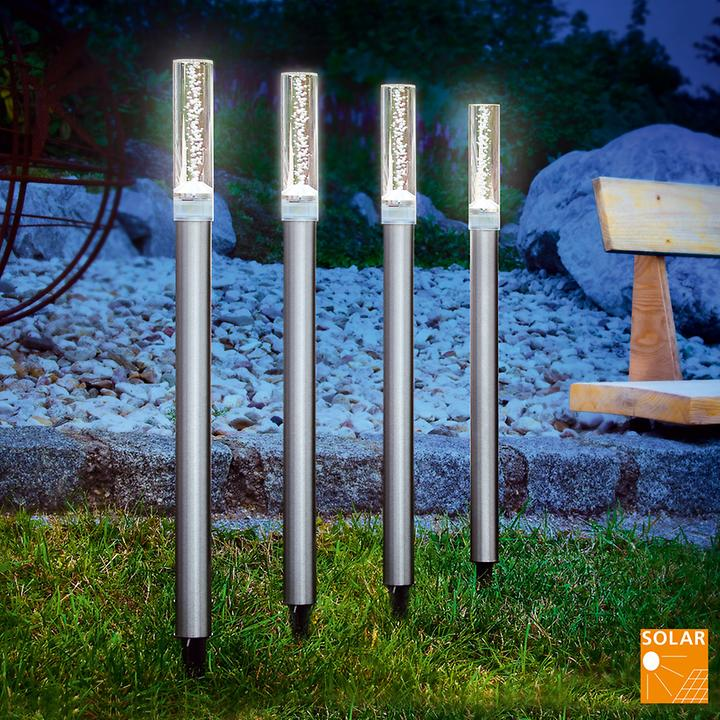 """Gartenleuchte """"Quad"""" aus Stahl, solar, silberfarben, 4er-Set"""
