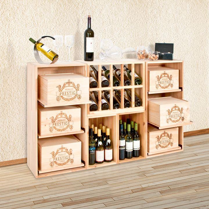 weinregal box aus hellem kiefernholz promondo. Black Bedroom Furniture Sets. Home Design Ideas