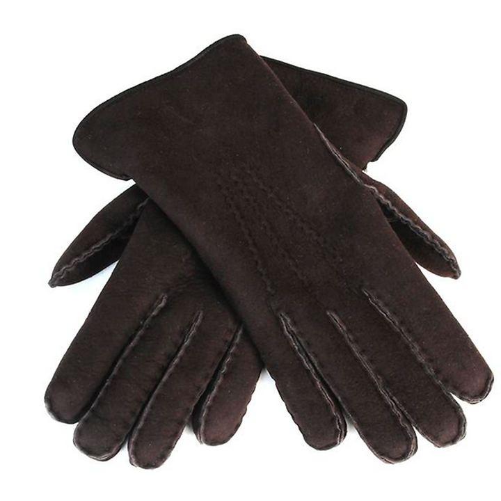 Lammfell-Handschuhe Damen/ Herren dunkelbraun Gr. 10
