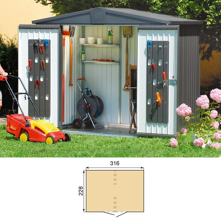Gartenhaus Europa dunkelgrau metallic Gr.6 H209xB316xT228cm