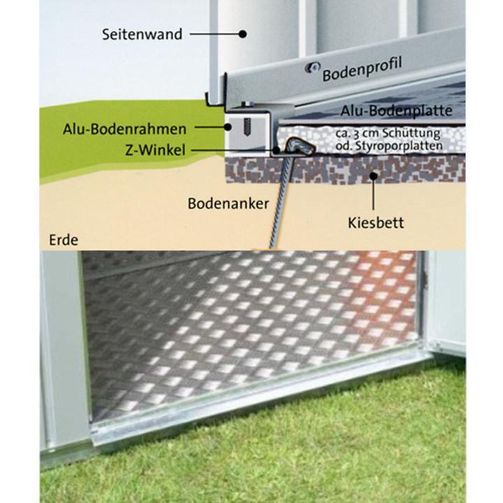 Alu-Bodenplatte Gr.2 für Gartenhaus Europe