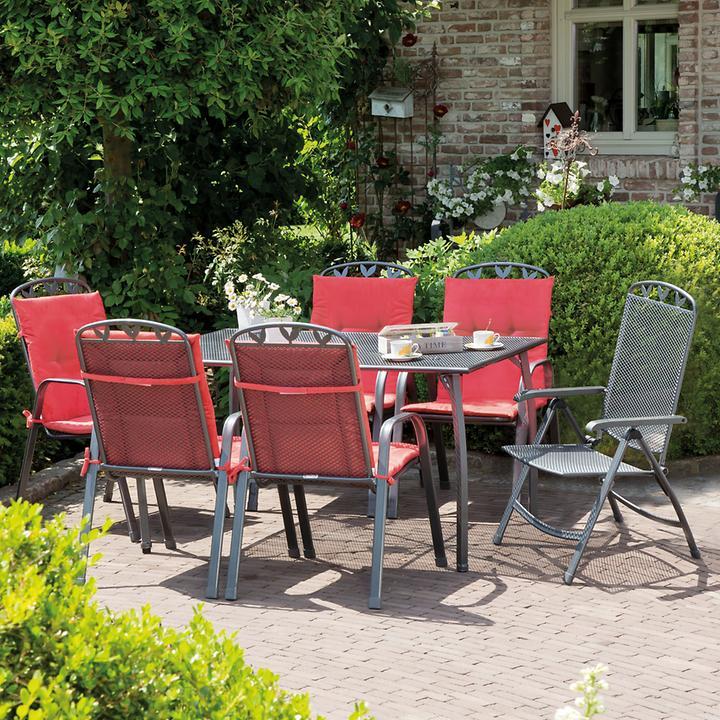 Gartenmöbel-Set Nizza 7-tlg eckiger Tisch, 6 Klappsessel
