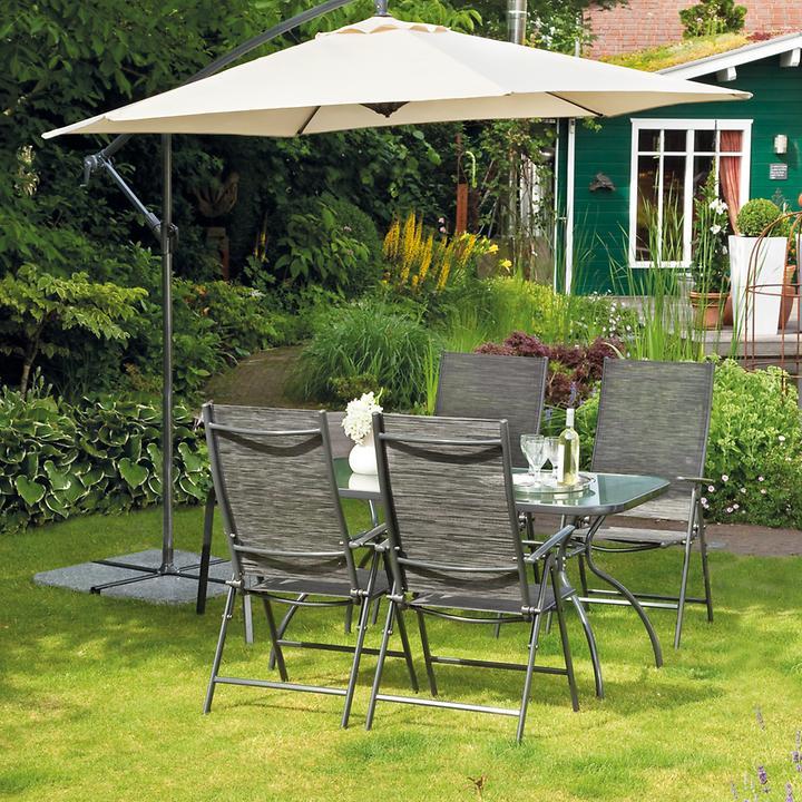 Metall Gartenmobel Set 4stuhle 1 Tisch Mit Glasplatte Promondo