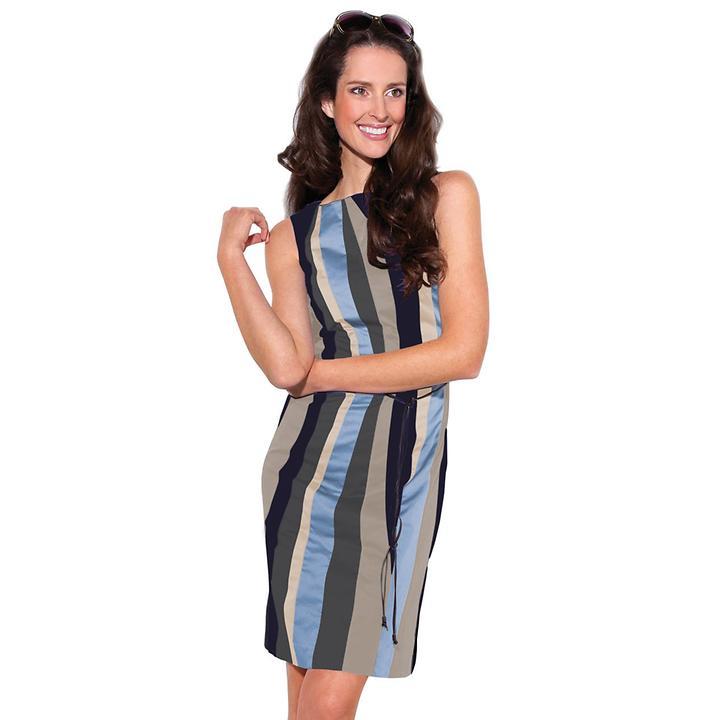 Ärmelloses Kleid mit Streifen aus Baumwolle