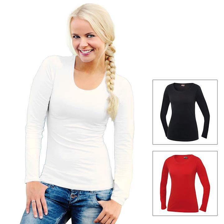 Langarm Stretch-T-Shirt Carolina