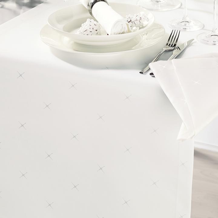 Tischdecke Sternenhimmel, cremeweiß D 140 cm