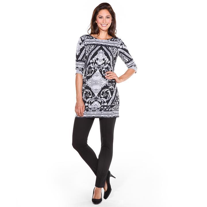 Elastische Tunika / Kurzkleid im schwarz-weiß Print