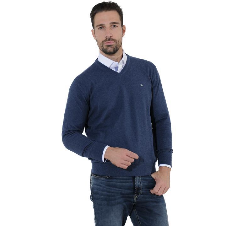V-Pullover Tim blau